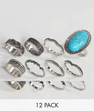 Asos (エイソス) - Asos Design ASOS DESIGN Pack Of 12 Festival Engraved Burnished Stone Rings