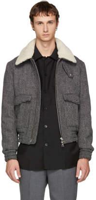 Ami Alexandre Mattiussi Black and White Shearling Bomber Jacket