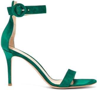 Gianvito Rossi Portofino 85 Suede Sandals - Womens - Dark Green