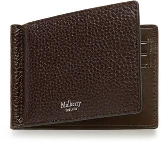 Mulberry Money Clip Wallet with Tree Plaque Chocolate Natural Grain Leather