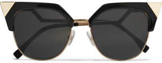 Fendi - Iridia Cat-eye Gold-tone And Acetate Sunglasses - Black $388 thestylecure.com
