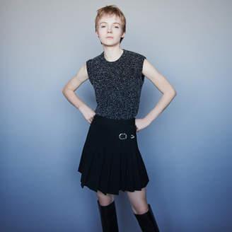 Maje Pleated kilt-style skirt with buckle