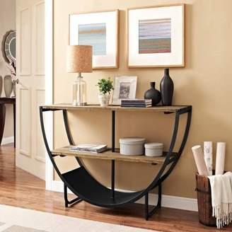 Modway Uplift Stand with Solid Pine Wood Shelves in Brown