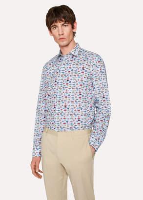 Paul Smith Men's Tailored-Fit Light Blue 'Tropical Fish' Print Cotton Shirt