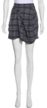 Brunello Cucinelli Plaid Virgin Wool Mini Skirt grey Plaid Virgin Wool Mini Skirt