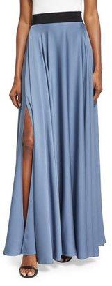 Milly Silk A-line Maxi Skirt, Denim $575 thestylecure.com