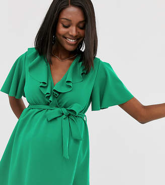 Blume Maternity exclusive wrap front tunic with self belt in bright green
