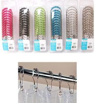 AllTopBargains 12 Pc Easy Glide Heavy Duty Hooks Decorative Shower Rod Curtain Rings Bathroom !