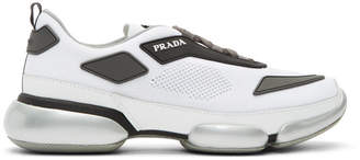 Prada White and Grey Sport Wedge Sneakers
