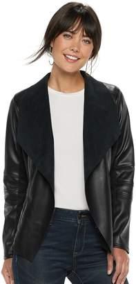 Apt. 9 Women's Faux Leather Flyaway Jacket
