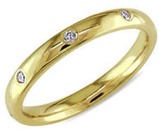 HBC CONCERTO 14K Yellow Gold Wedding Band with 0.16 Total Carat Weight Diamonds