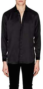 Saint Laurent Men's Velvet-Trimmed Silk Satin Shirt - Black