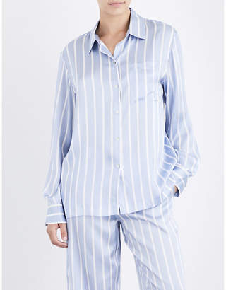 Asceno Sky stripe silk-satin pyjama top