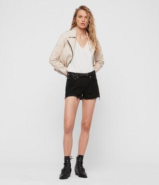 AllSaints Mai Destroyed High-Rise Denim Shorts