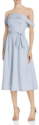 JOA Striped Poplin Off-the-Shoulder Dress - 100% Exclusive $98 thestylecure.com