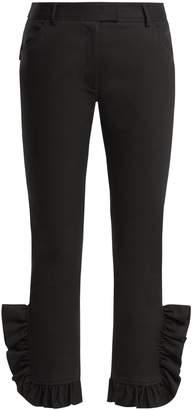 Preen Line Kala ruffle-trimmed skinny stretch-cotton trousers