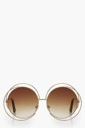 boohoo Cut Out Frame Round Sunglasses