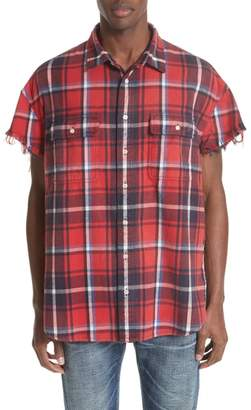 R 13 Oversize Cut Off Flannel Shirt