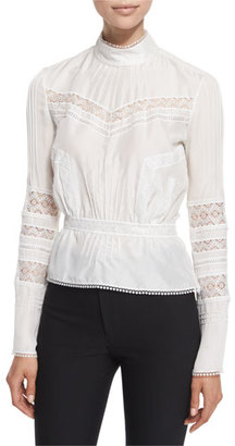 Derek Lam 10 Crosby Pintucked Silk Lace-Trim Blouse, Soft White $395 thestylecure.com