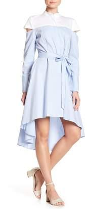 BCBGMAXAZRIA Hi-Lo Contrast Yoke Shirting Dress