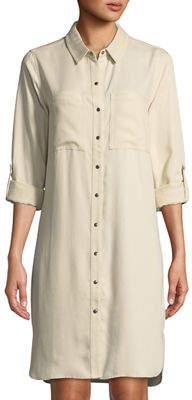 Tyler Boe Snap-Front Long-Sleeve Mini Shirtdress