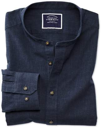 Slim Fit Collarless Navy Cotton Casual Shirt Single Cuff Size Large by Charles Tyrwhitt