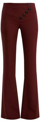 Chloé Mid Rise Flared Cady Trousers - Womens - Burgundy