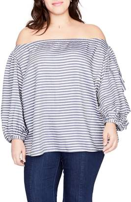 Rachel Roy Ruffle Sleeve Stripe Off the Shoulder Top
