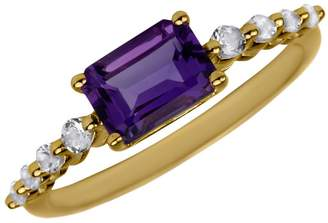 Fine Jewellery 14K Yellow Gold Ring with Topaz and Amethyst