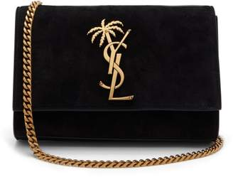 Saint Laurent Kate Palm Tree Monogram Suede Cross Body Bag - Womens - Black