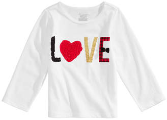 First Impressions Toddler Girls Long-Sleeve Cotton Love T-Shirt