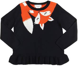 Sonia Rykiel Fox Intarsia Wool Blend Knit Sweater