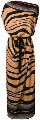 Roberto Cavalli asymmetric zebra print dress