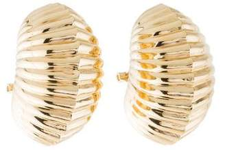 14K Puffy Ribbed Earrings
