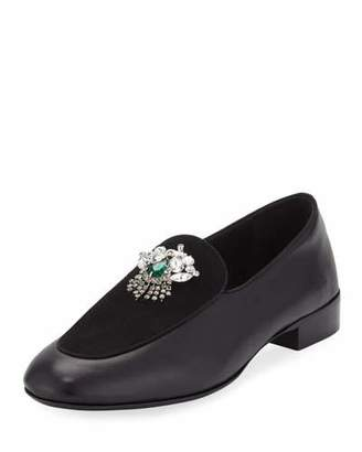 Giuseppe Zanotti Men's Leather/Suede Dress Loafer with Swarovski® Crystal Ornament