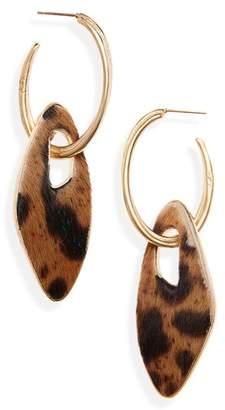 Saint Laurent Leopard Genuine Calf Hair Hoop Earrings