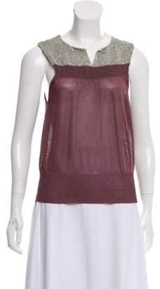 Dries Van Noten Sleeveless Knit Blouse Pink Sleeveless Knit Blouse