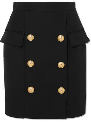 Balmain Button-embellished Wool Mini Skirt - Black