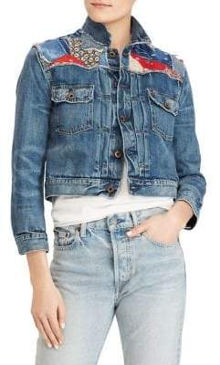 Polo Ralph Lauren Cropped Patchwork Trucker Denim Jacket