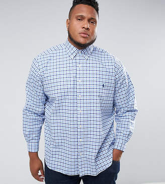 Polo Ralph Lauren Big & Tall Gingham Check Oxford Shirt In Blue/White