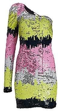 Amen Women's One-Shoulder Sequin Stripe Dress
