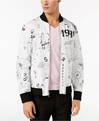 GUESS Men's Graffiti Bomber Jacket