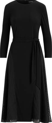 Ralph Lauren Satin-Trim Fit-and-Flare Dress