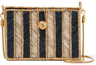 Magnetic Midnight - Rayas Woven Palm Leaf And Gold-plated Shoulder Bag - Midnight blue