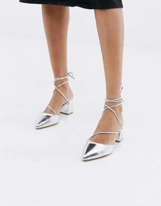 Raid RAID Honor silver ankle tie heeled shoes