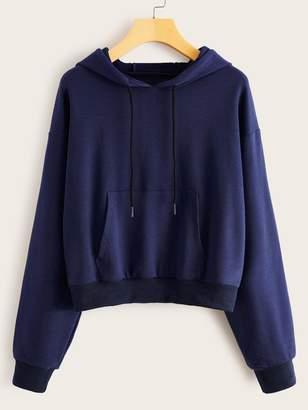 Shein Drop Shoulder Kangaroo Pocket Drawstring Hoodie