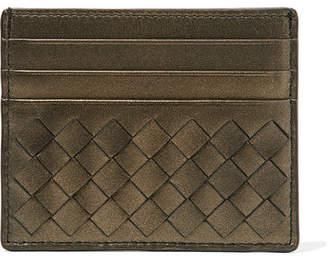 Bottega Veneta Metallic Intrecciato Leather Cardholder - Gold