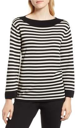 Anne Klein Boat Neck Parisian Stripe Sweater