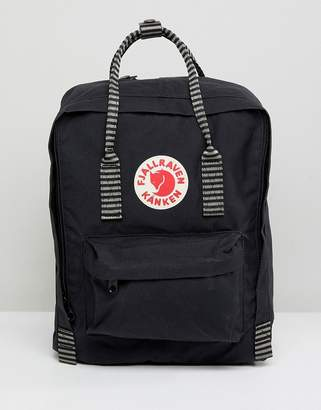 Fjallraven Kanken in Black with Contrast Stripe Top Handle and Straps