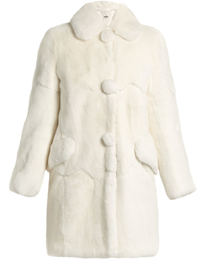 Miu Miu MIU MIU Round-collar rabbit-fur coat